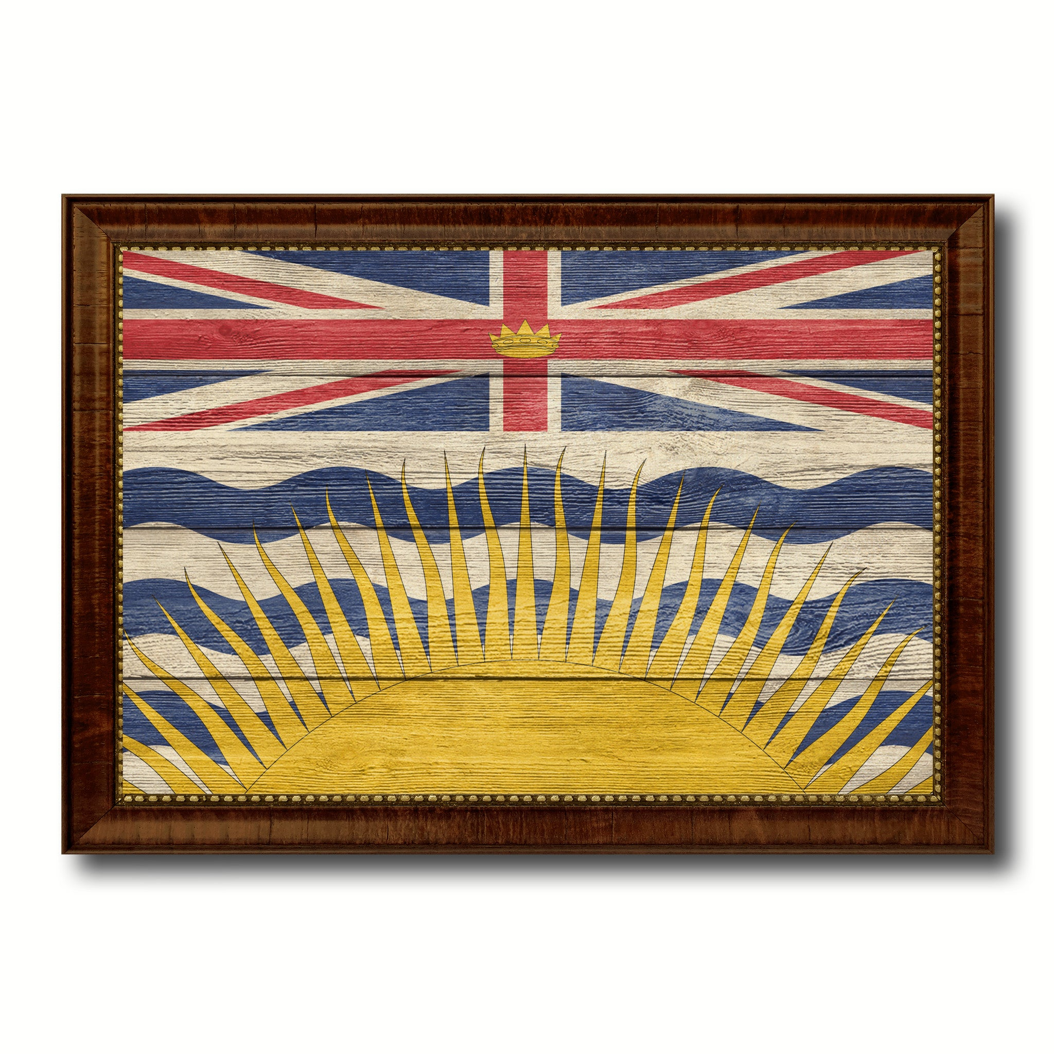 British Columbia Province City Canada Country Texture Flag Canvas Print Brown Picture Frame