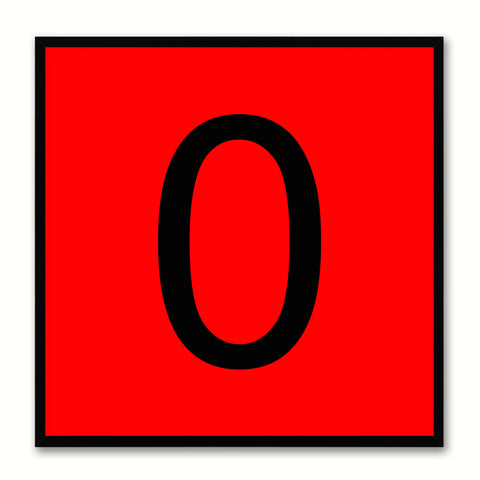 Number 0 Red Canvas Print Black Frame Kids Bedroom Wall Décor Home Art