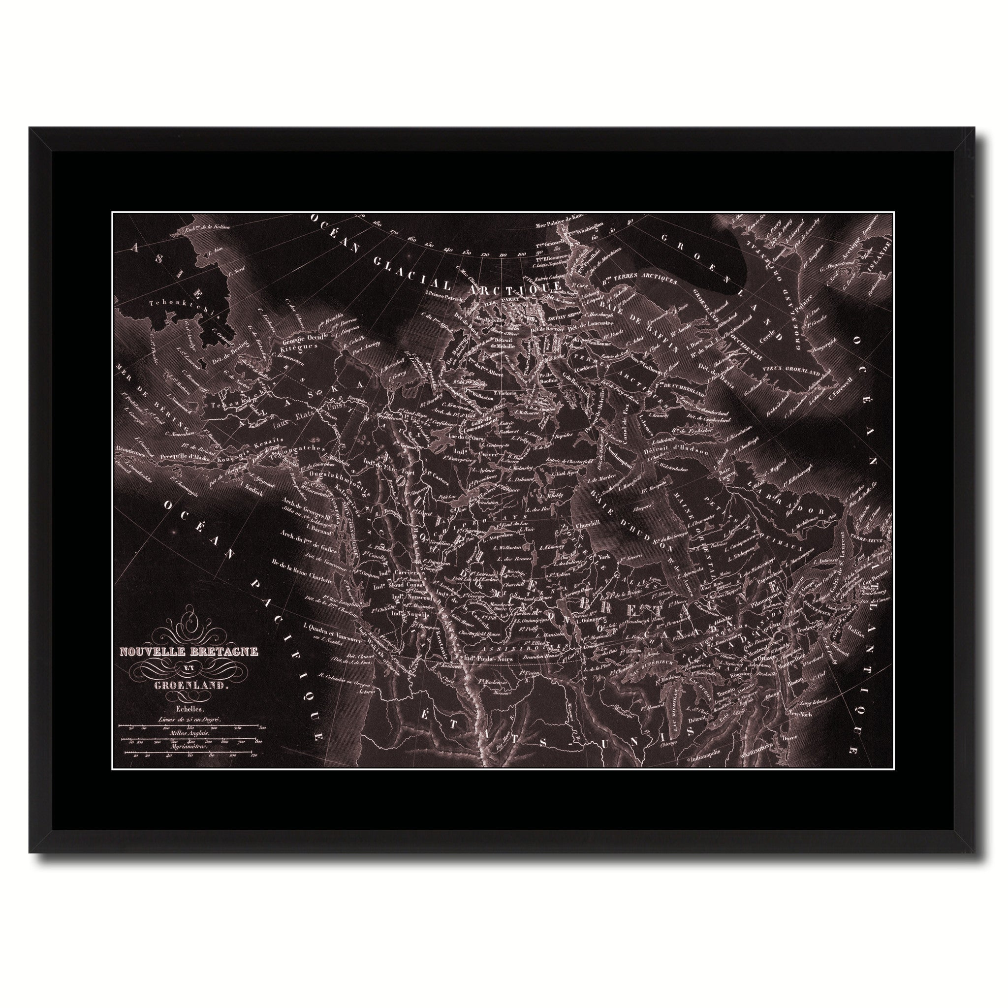 Canada Alaska Vintage Vivid Sepia Map Canvas Print, Picture Frames Home Decor Wall Art Decoration Gifts