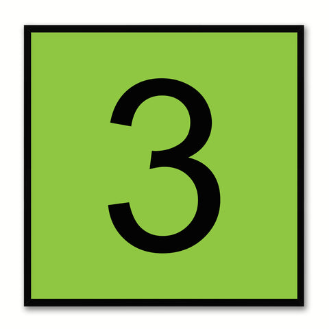 Number 3 Green Canvas Print Black Frame Kids Bedroom Wall Décor Home Art