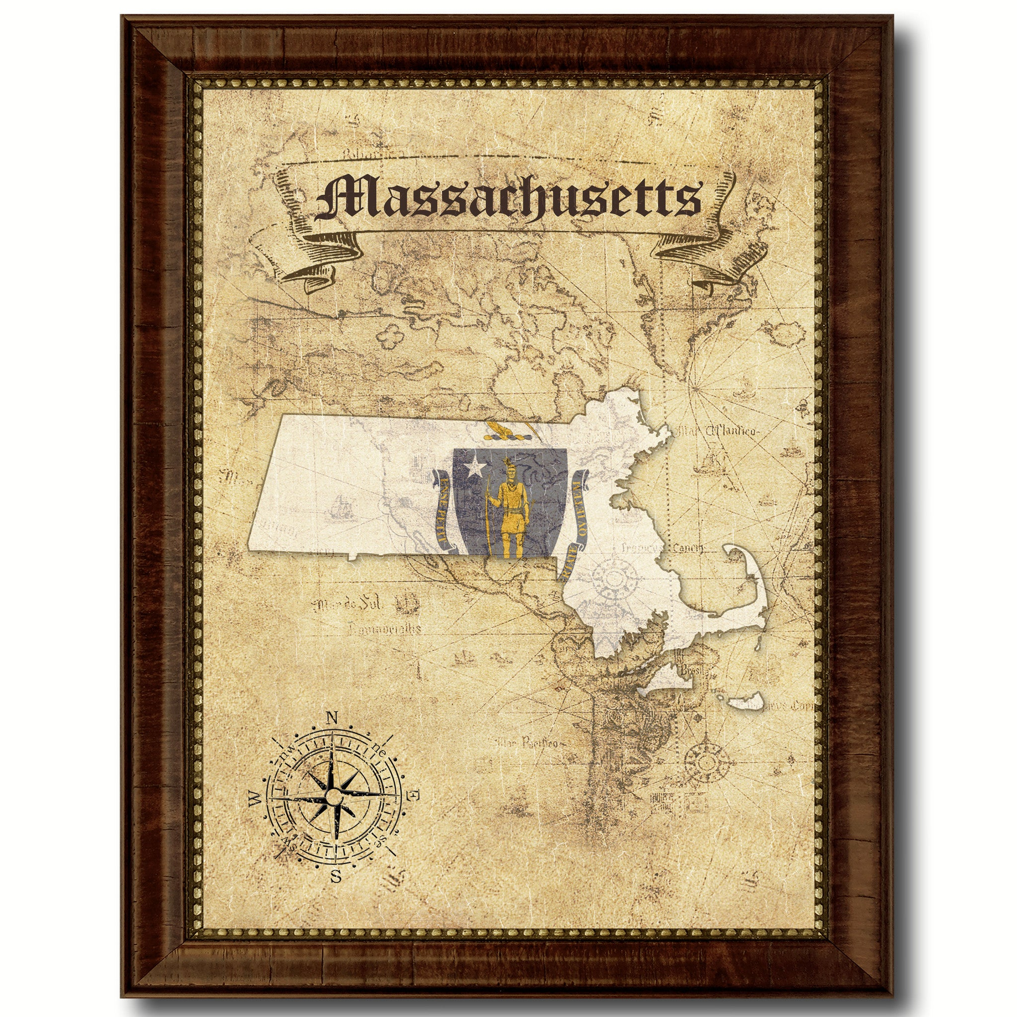 Massachusetts State Vintage Map Home Decor Wall Art Office Decoration Gift Ideas