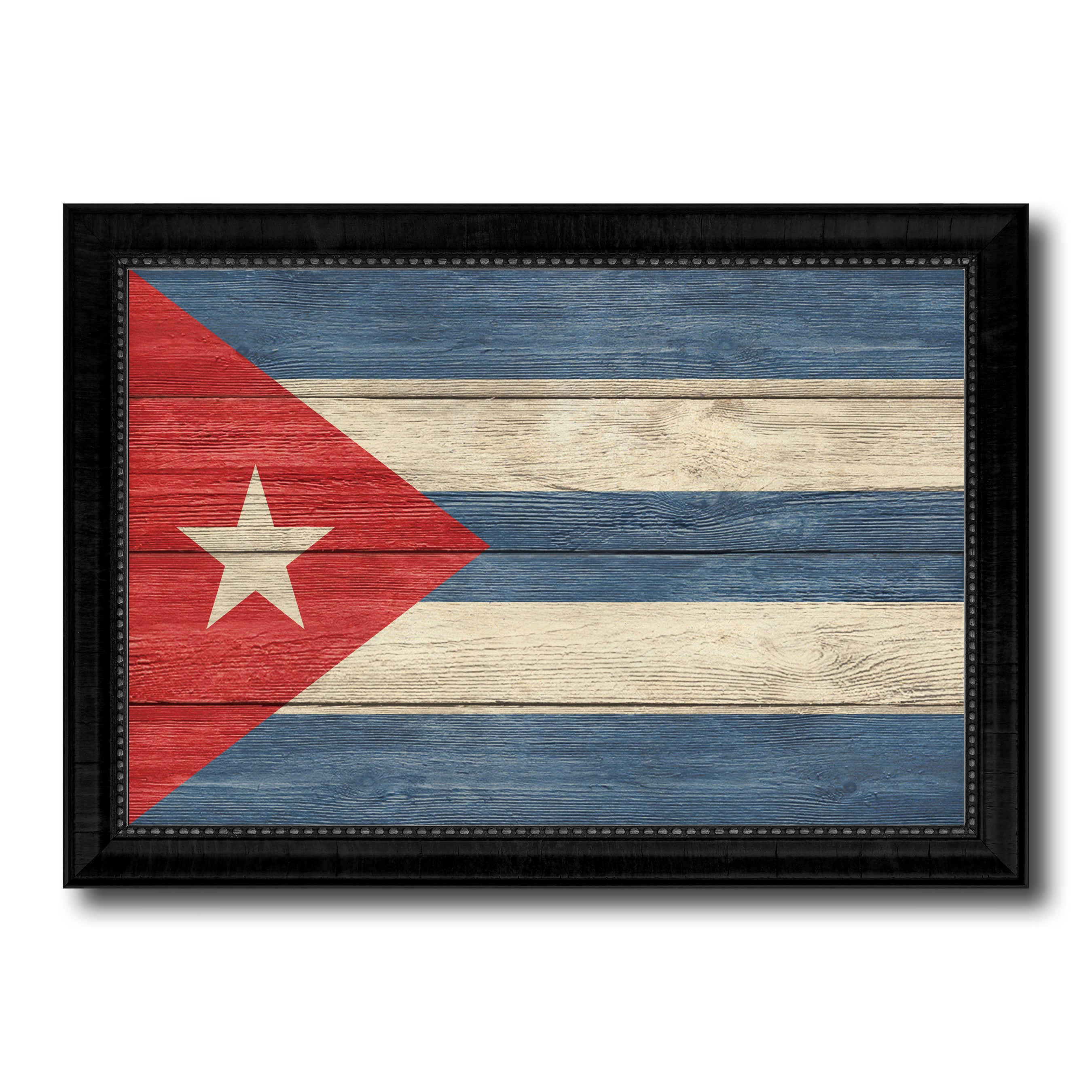 Cuba Country Flag Texture Canvas Print with Black Picture Frame Home Decor Wall Art Decoration Collection Gift Ideas