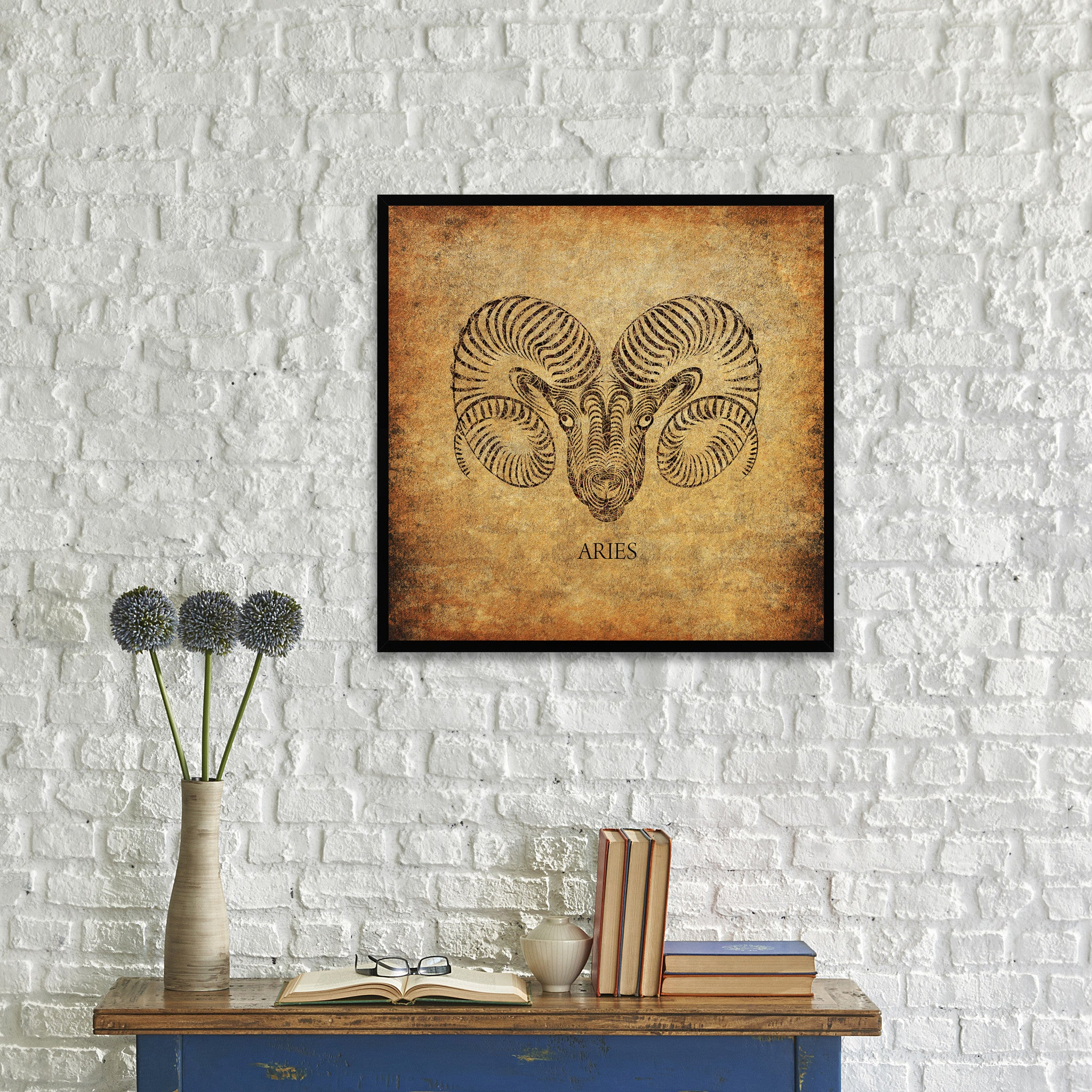 Aries Horoscope Brown Canvas Print, Black Custom Frame