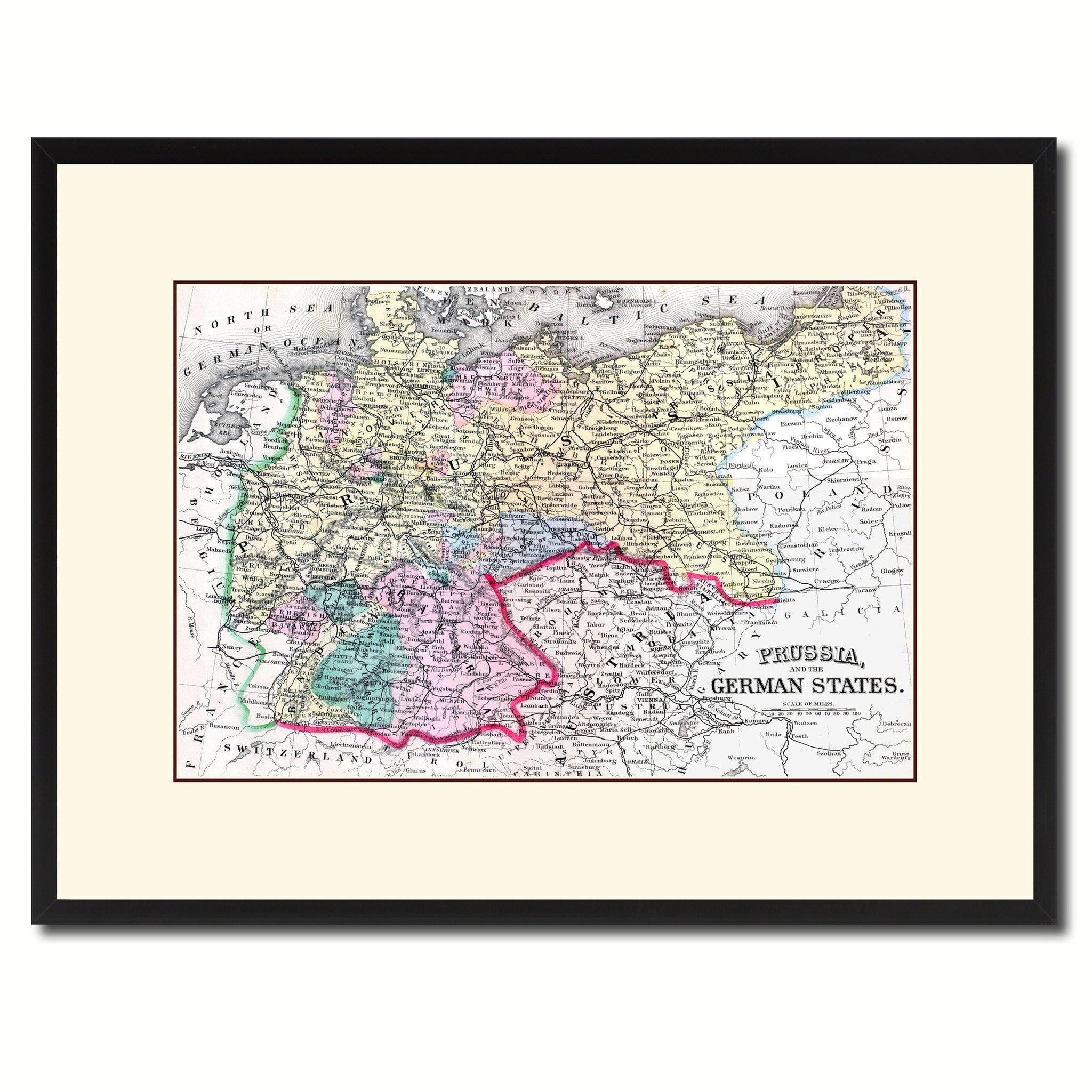 Prussia Germany Vintage Antique Map Wall Art Home Decor Gift Ideas Canvas  Print Custom Picture Frame