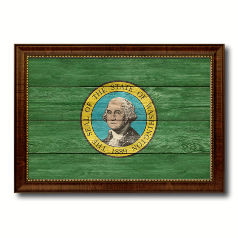 Washington State Flag Texture Canvas Print with Brown Picture Frame Gifts Home Decor Wall Art Collectible Decoration