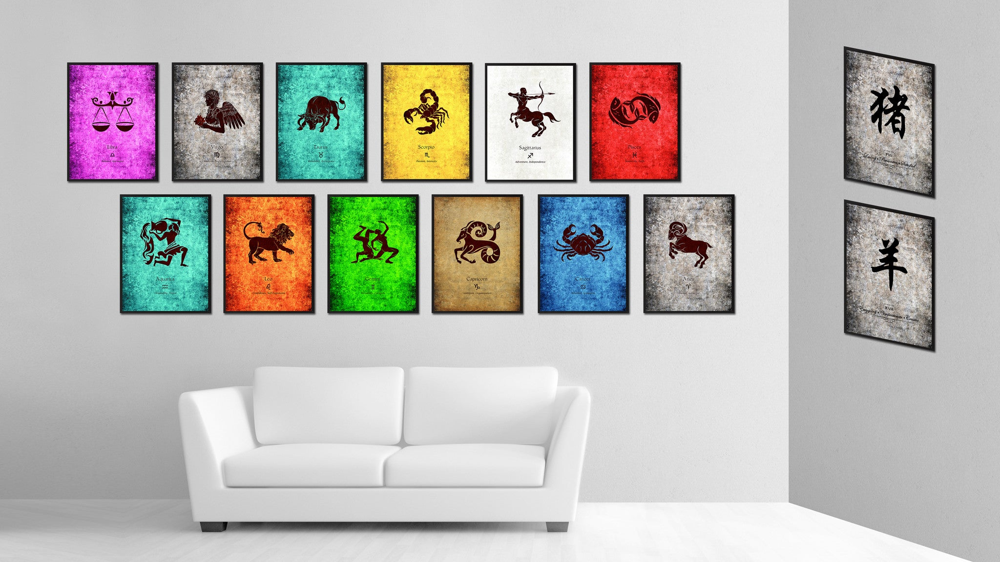 Zodiac Aquarius Horoscope Astrology Canvas Print, Picture Frame Home Decor Wall Art Gift