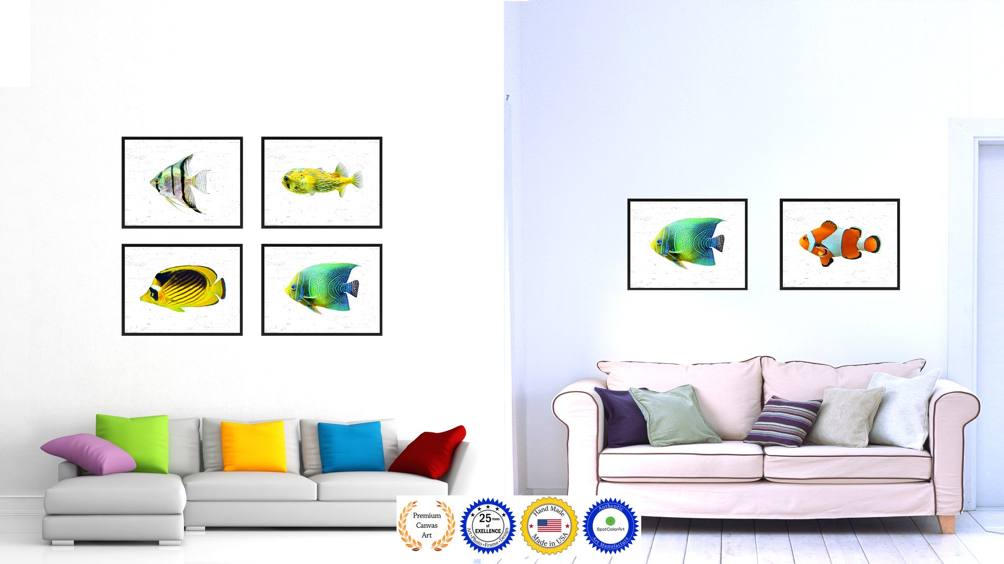 Aqua Tropical Fish Painting Reproduction Gifts Home Decor Wall Art Canvas Prints Picture Frames