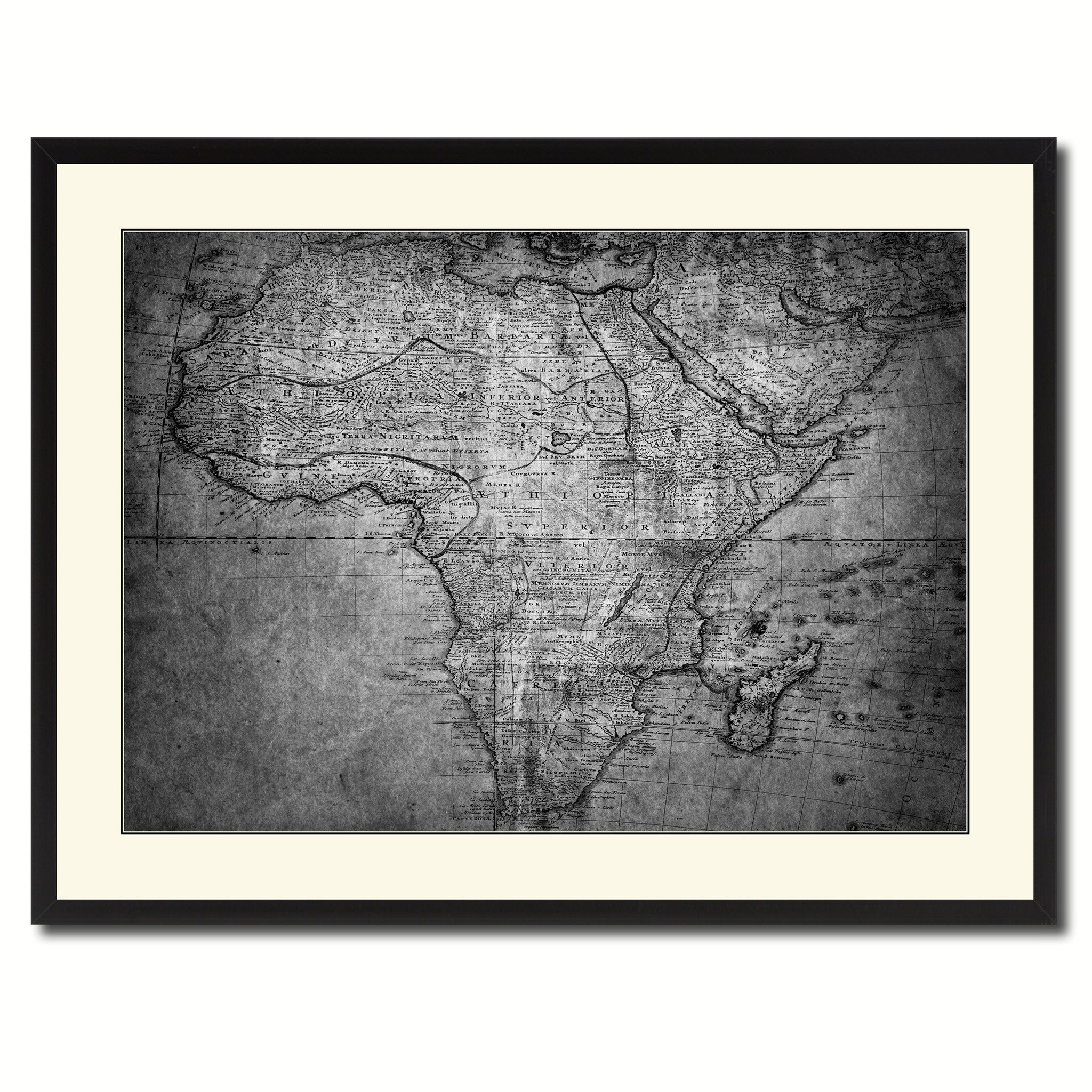 Africa Mapmaker Vintage B&W Map Canvas Print, Picture Frame Home Decor Wall Art Gift Ideas
