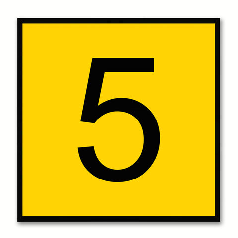 Number 5 Yellow Canvas Print Black Frame Kids Bedroom Wall Décor Home Art