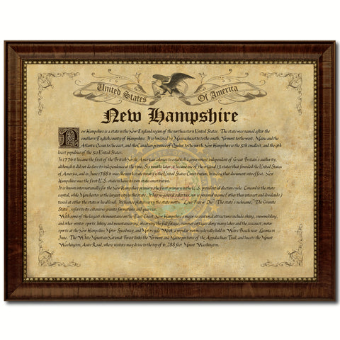 New Hampshire Vintage History Flag Canvas Print, Picture Frame Gift Ideas Home Décor Wall Art Decoration