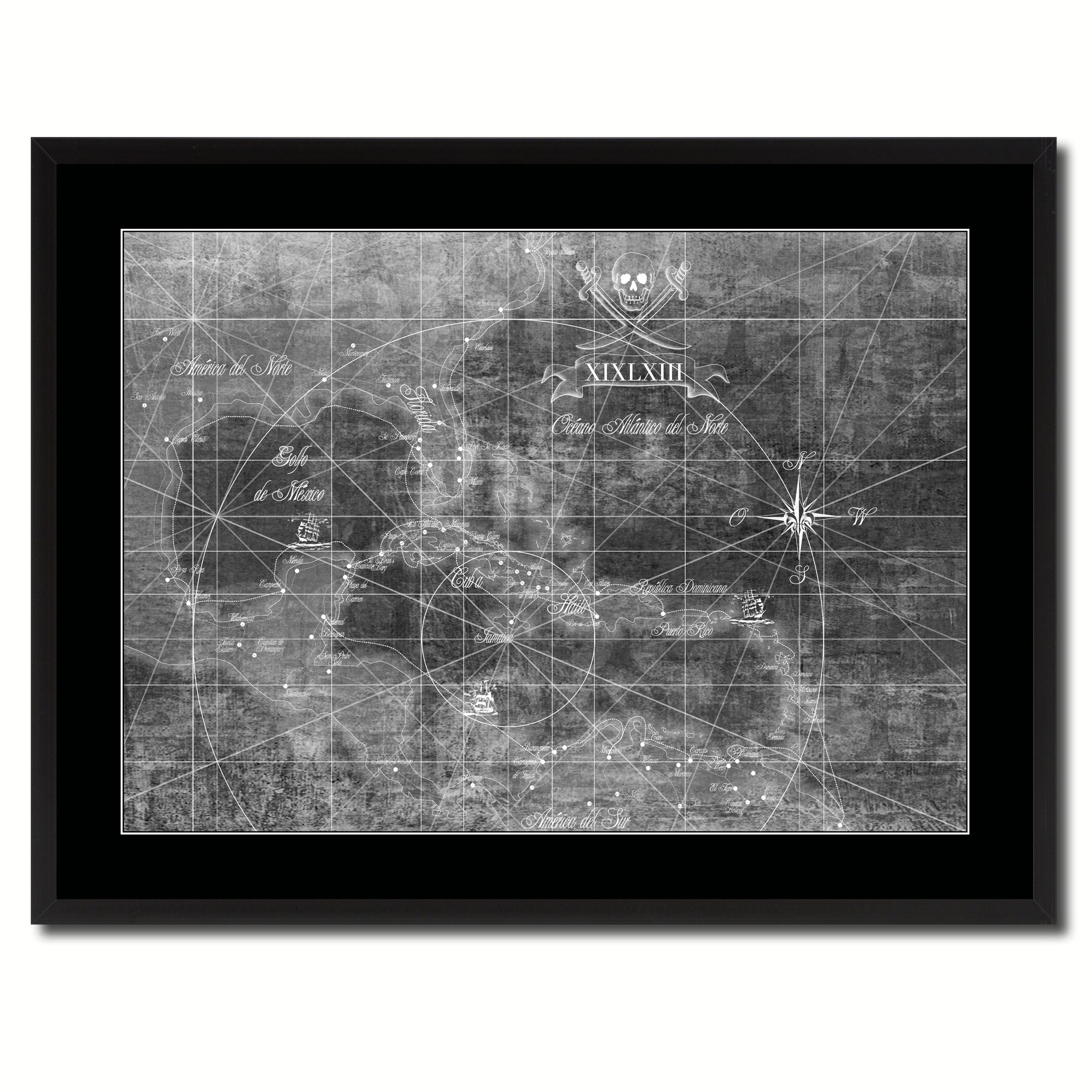 Caribbean Vintage Monochrome Map Canvas Print, Gifts Picture Frames Home Decor Wall Art