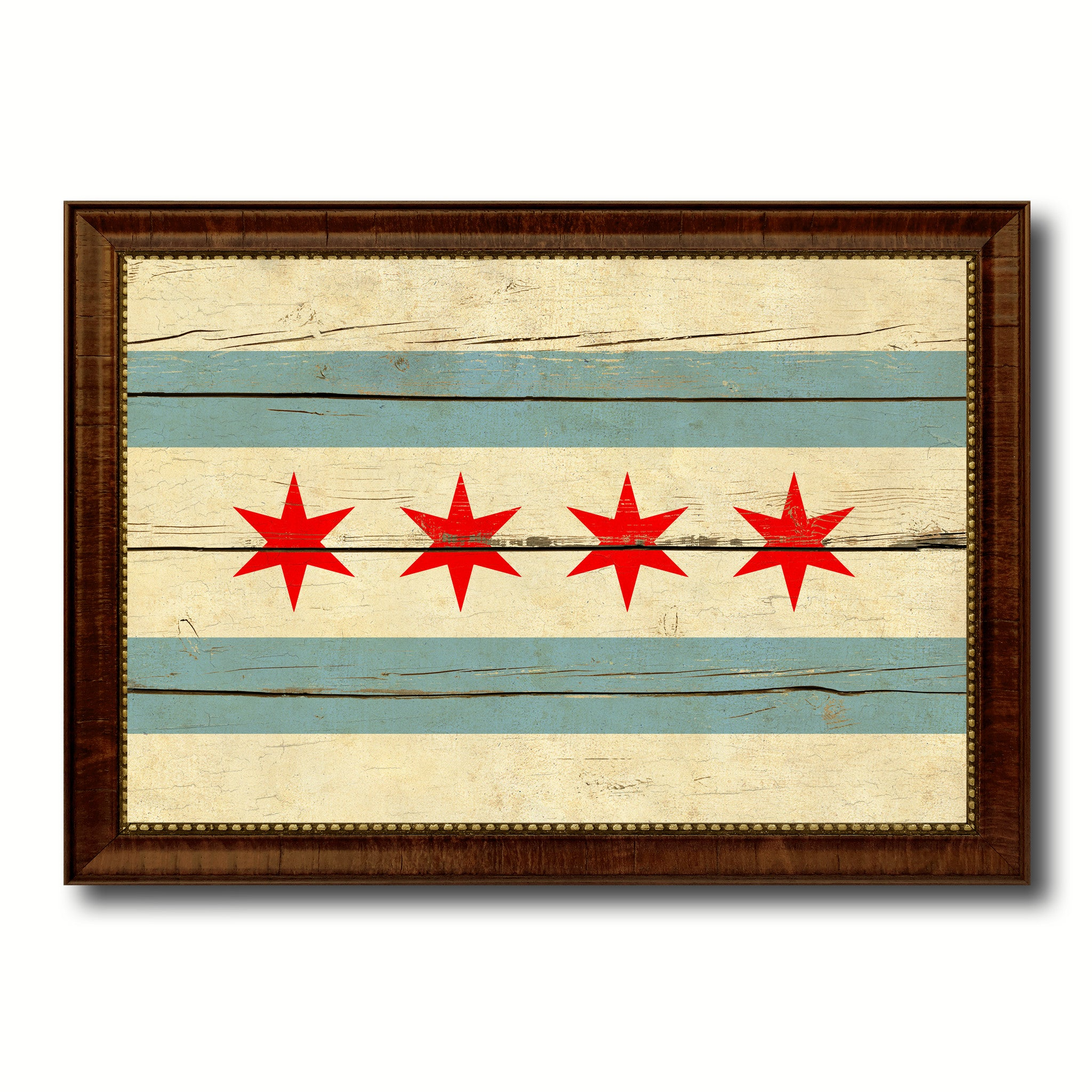 Chicago City Illinois State Vintage Flag Home Decor Office Wall ...