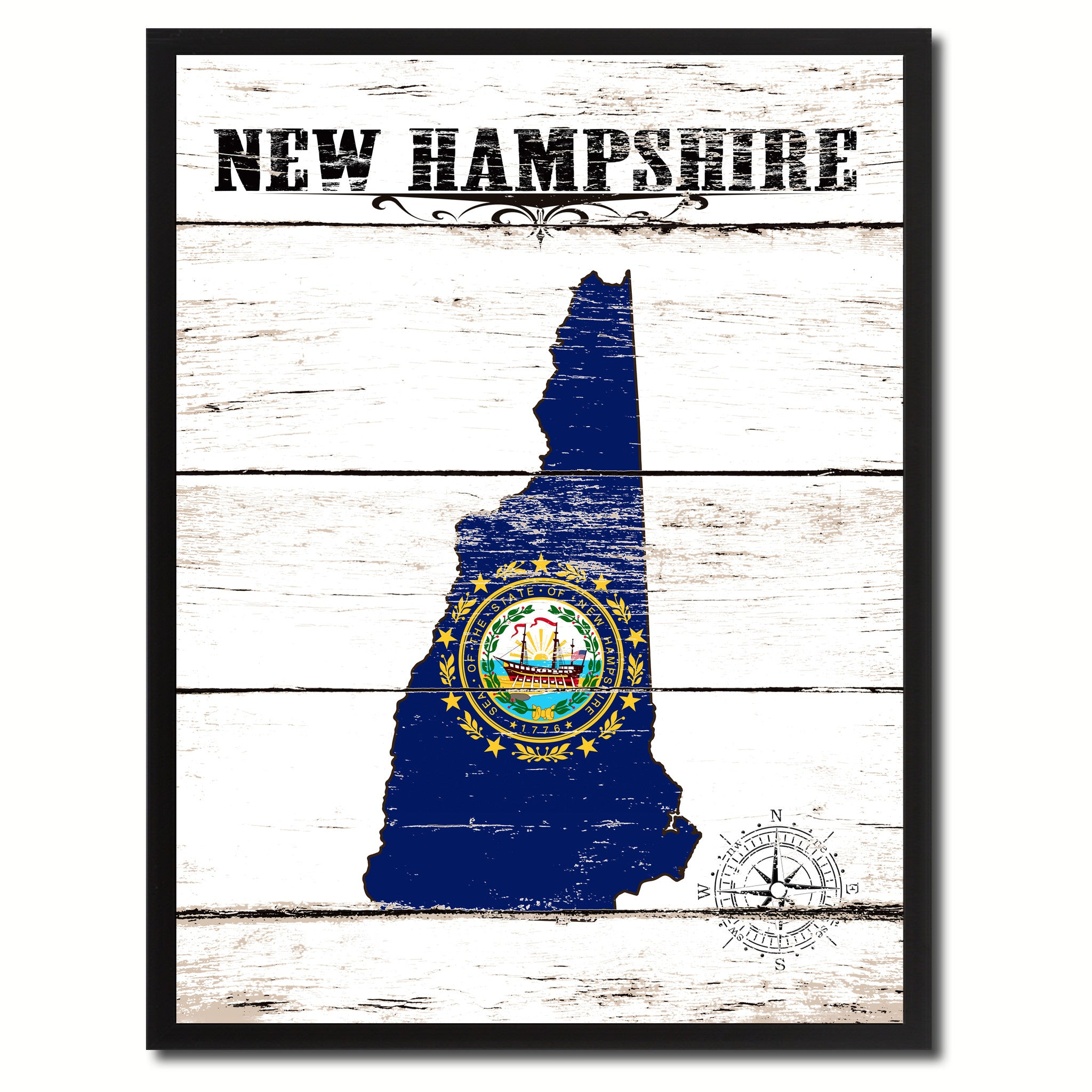 New Hampshire State Flag Gifts Home Decor Wall Art Canvas Print Picture Frames