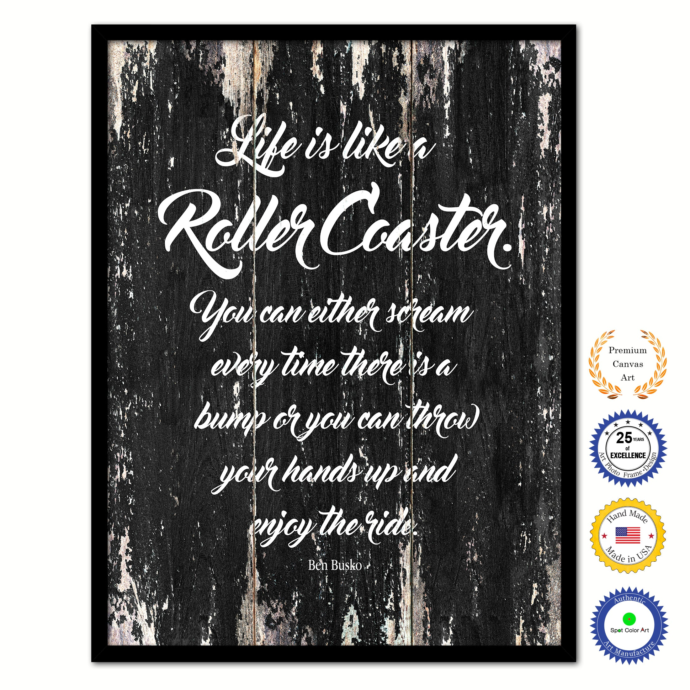 Life Is Like A Roller Coaster Quote Saying Framed Canvas Print Gift Ideas Home Decor Wall Art 122252 Black