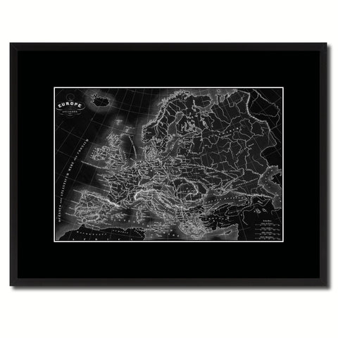 Ancient Europe Vintage Monochrome Map Canvas Print, Gifts Picture Frames Home Decor Wall Art