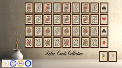 King Spades Poker Decks of Vintage Cards Print on Canvas Brown Custom Framed