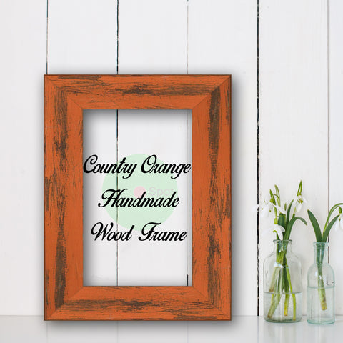 Country Orange Shabby Chic Home Decor Custom Frame Great for Farmhouse Vintage Rustic Wood Picture Frame