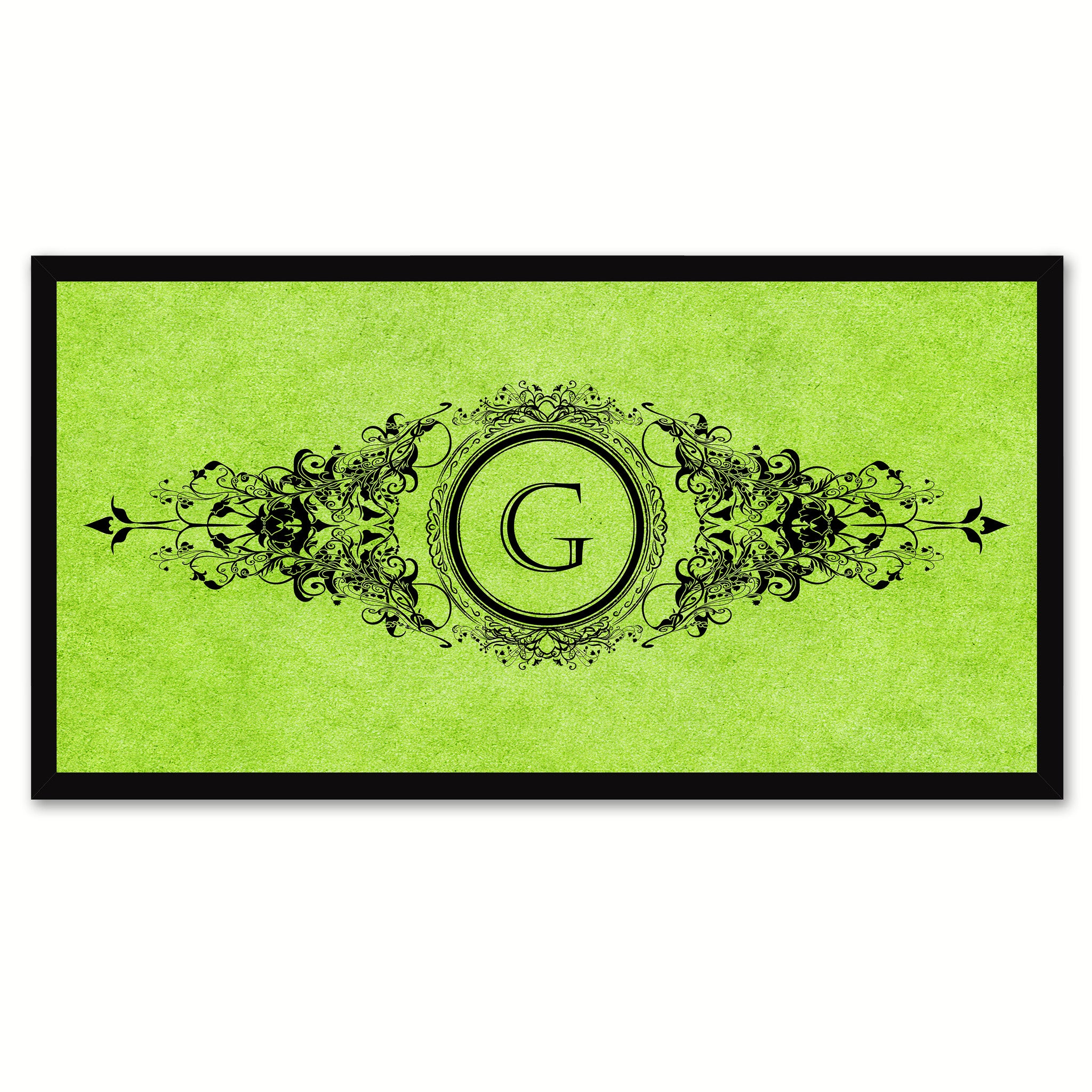 Alphabet Letter G Green Canvas Print Black Frame Kids Bedroom Wall Décor Home Art