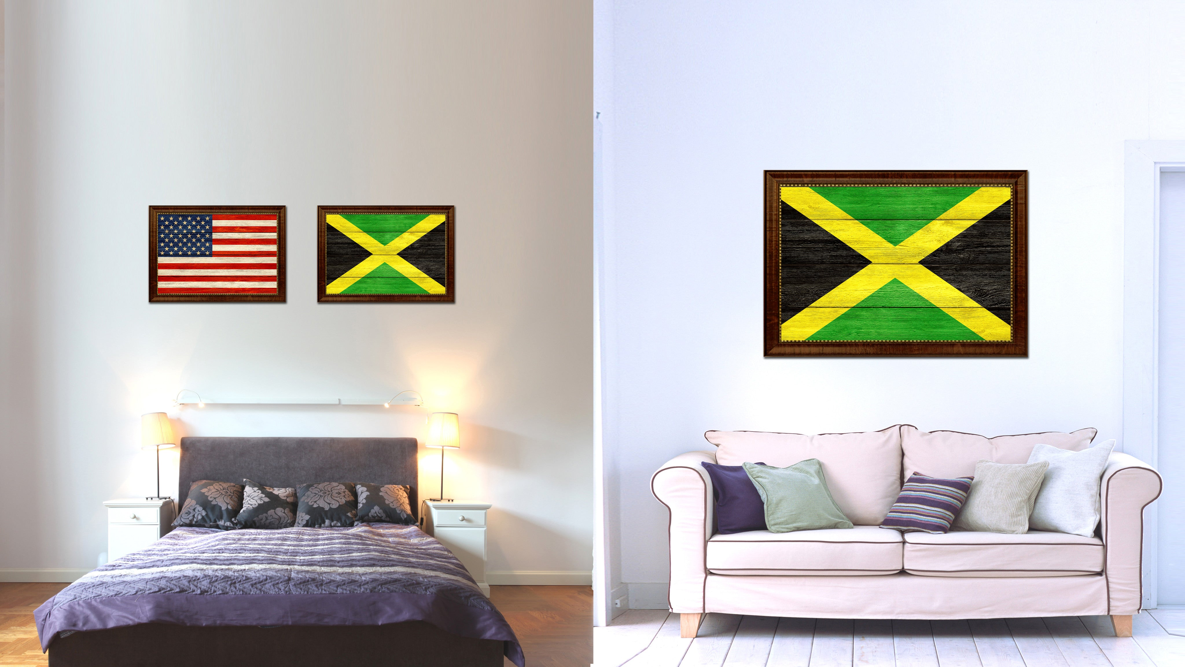 Jamaica Country Flag Texture Canvas Print with Brown Custom Picture Frame Home Decor Gift Ideas Wall Art Decoration