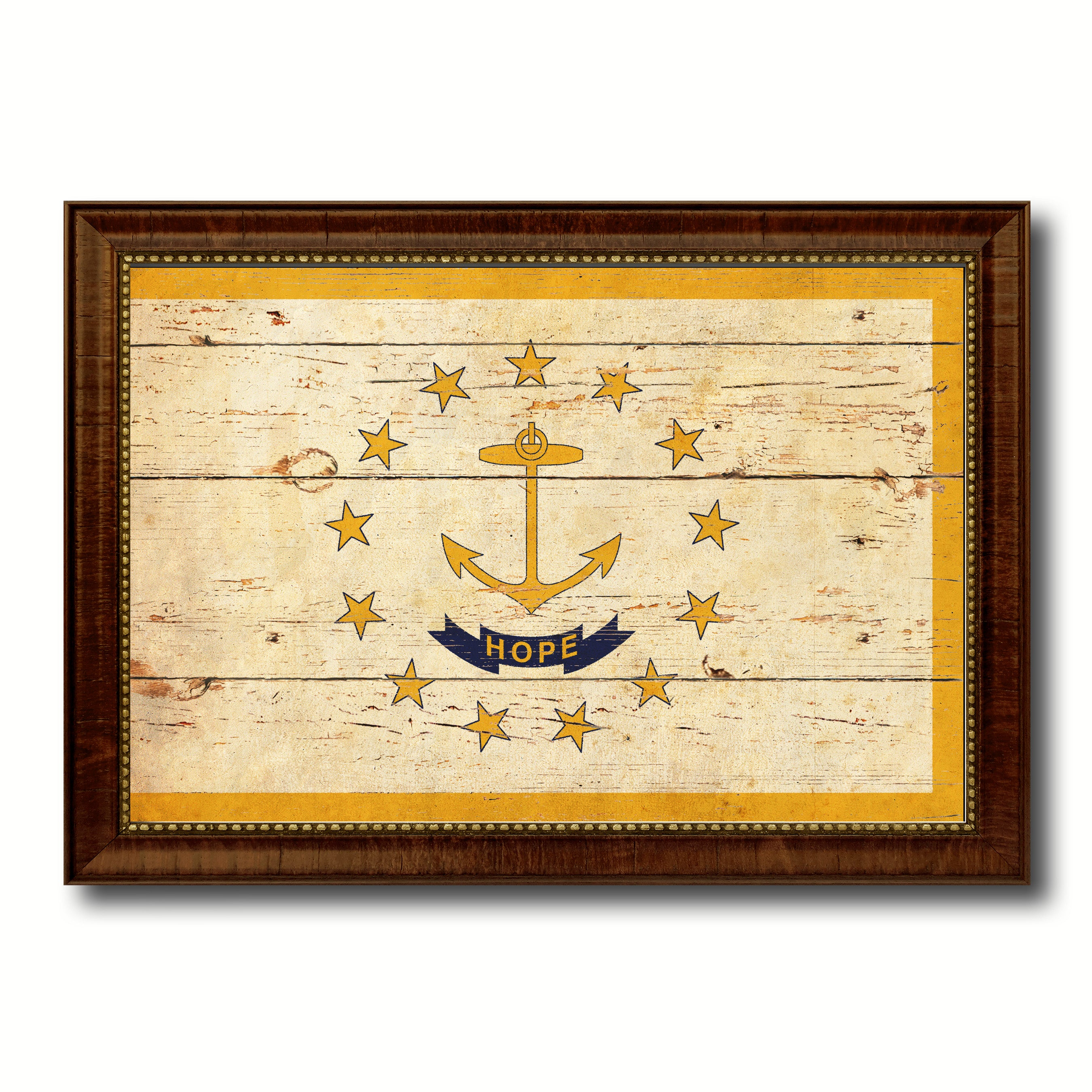 Rhode Island State Vintage Flag Canvas with Black Print Picture ...