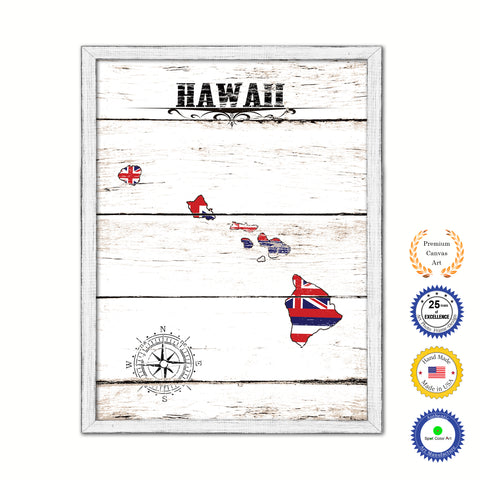 Hawaii Flag Gifts Home Decor Wall Art Canvas Print with Custom Picture Frame