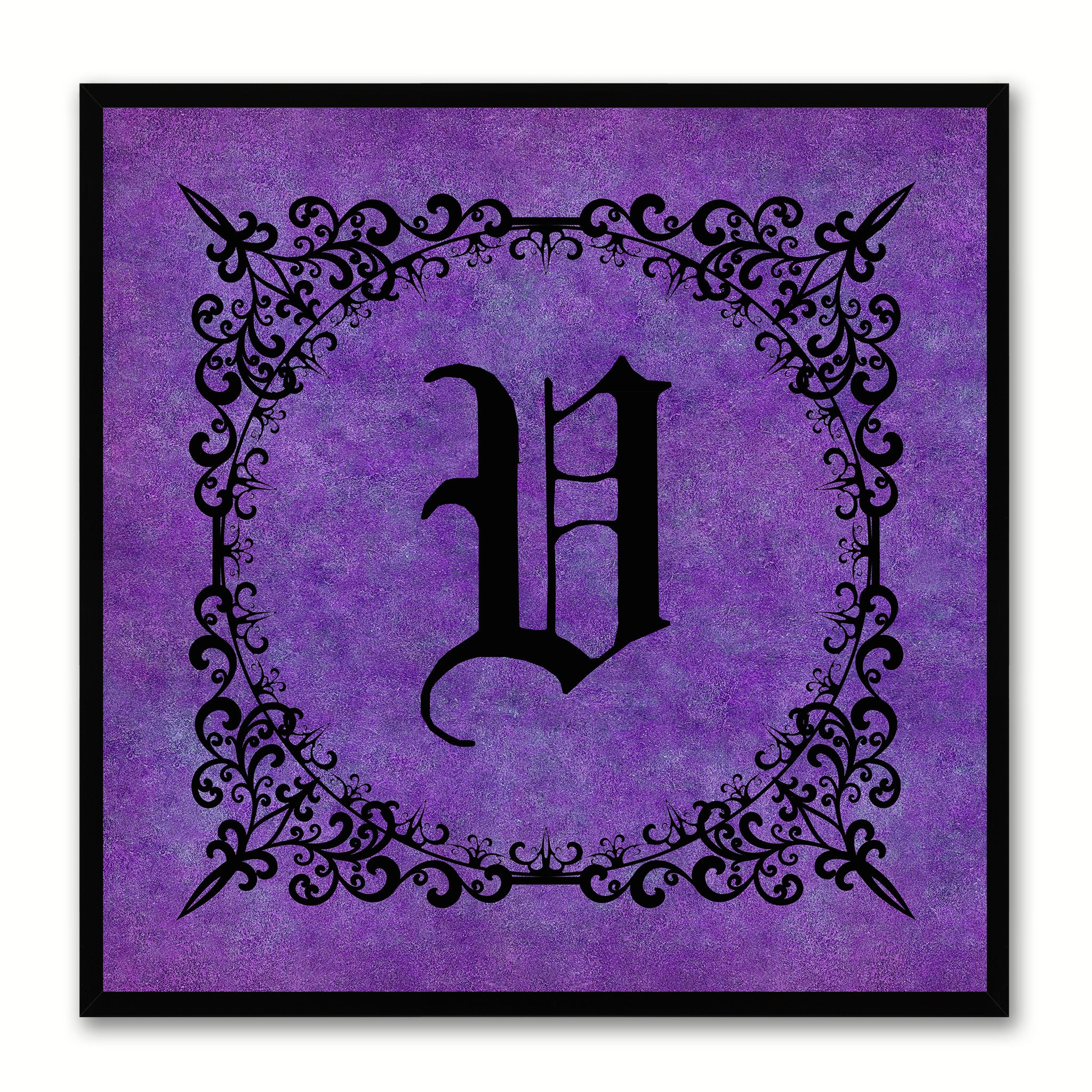 Alphabet V Purple Canvas Print Black Frame Kids Bedroom Wall Décor Home Art
