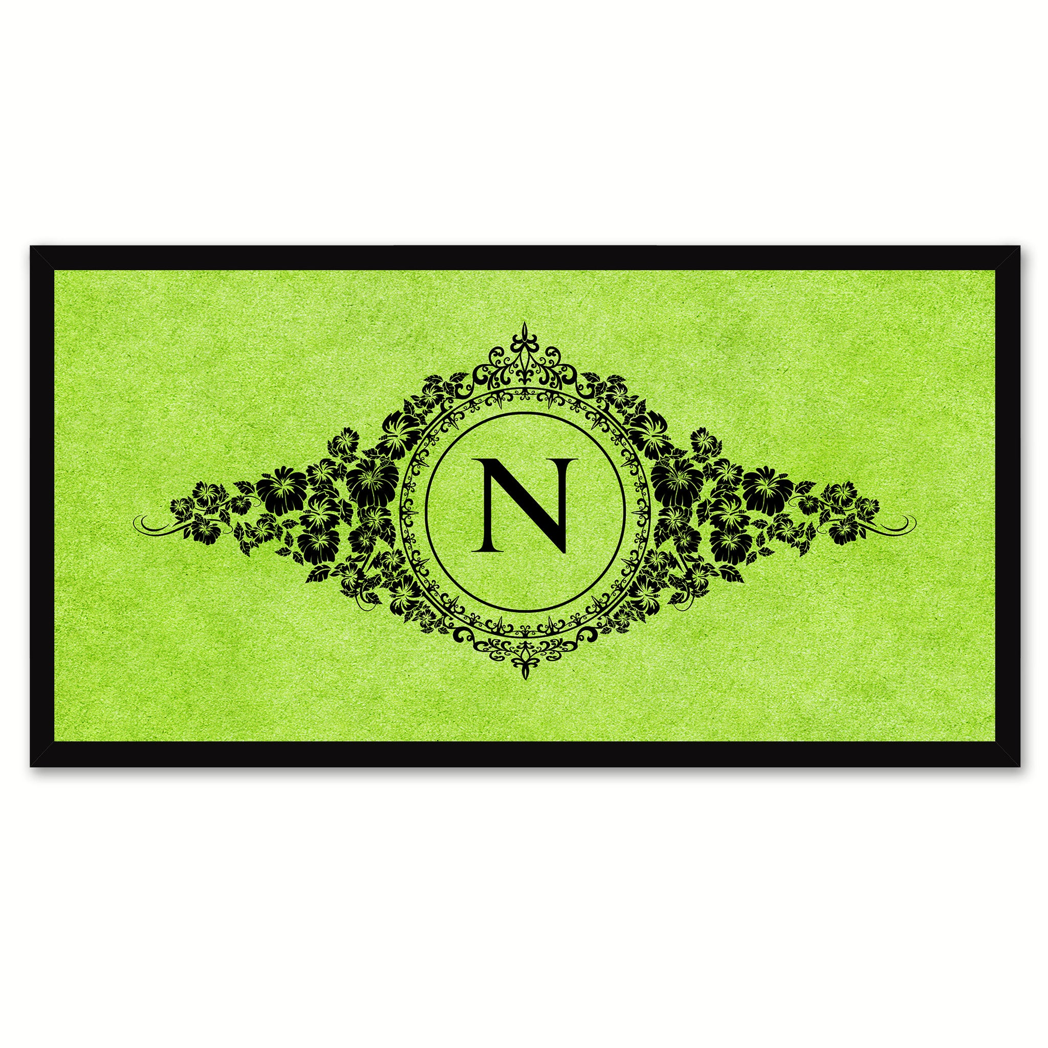 Alphabet Letter N Green Canvas Print, Black Custom Frame