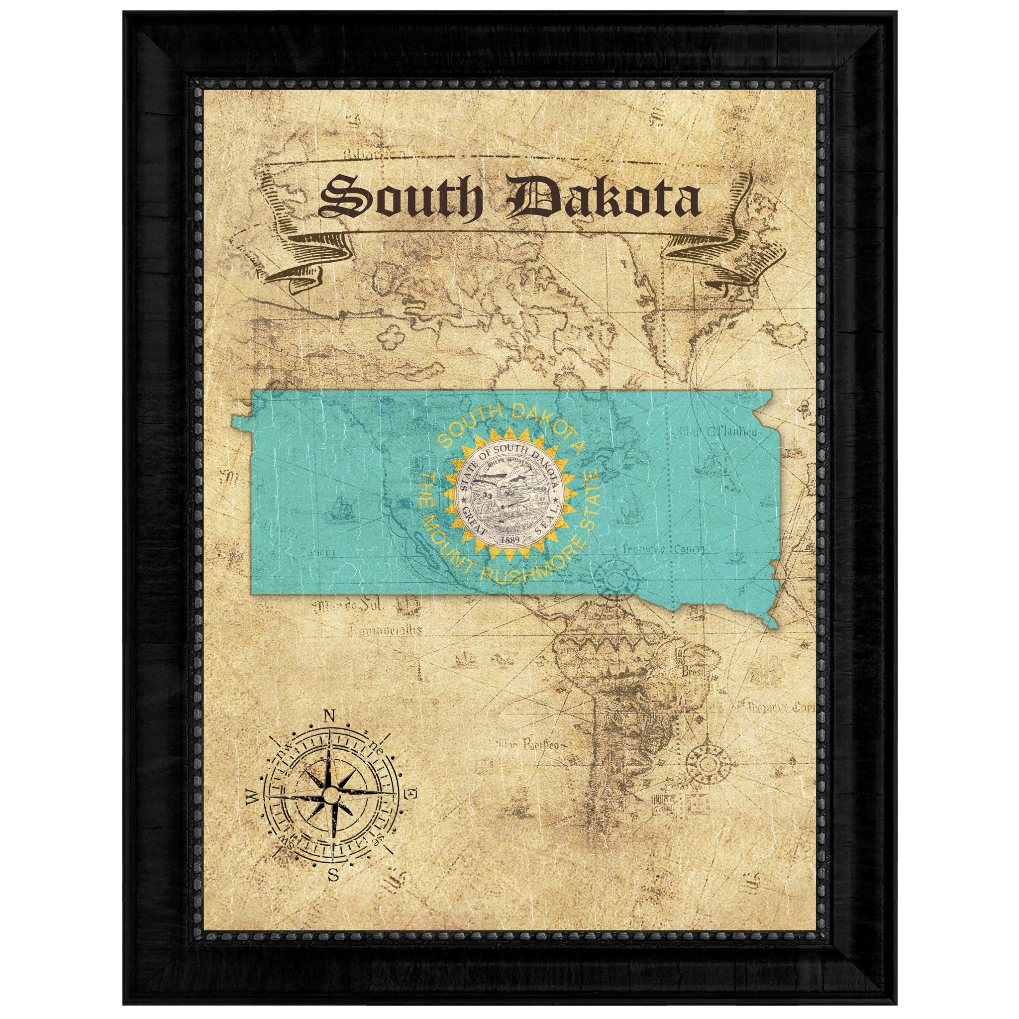 South DakotaState Vintage MapArt Office Wall Home Decor Rustic Gift ...