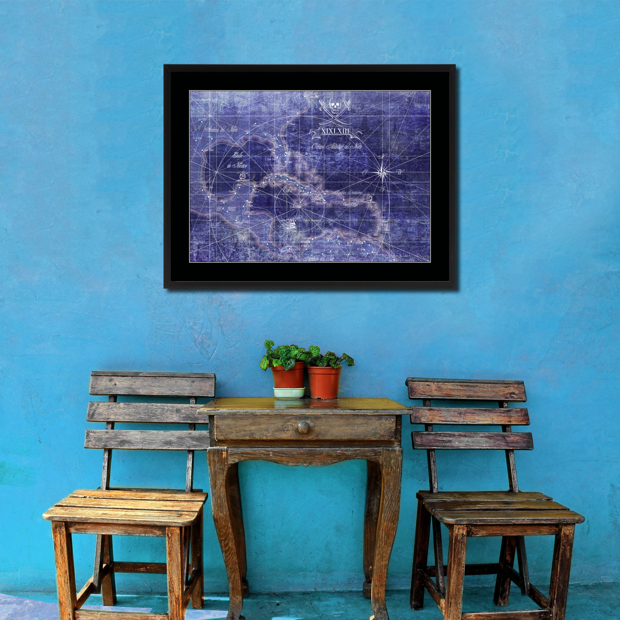 Caribbean Vintage Vivid Color Map Canvas Print, Picture Frame Home Decor Wall Art Office Decoration Gift Ideas