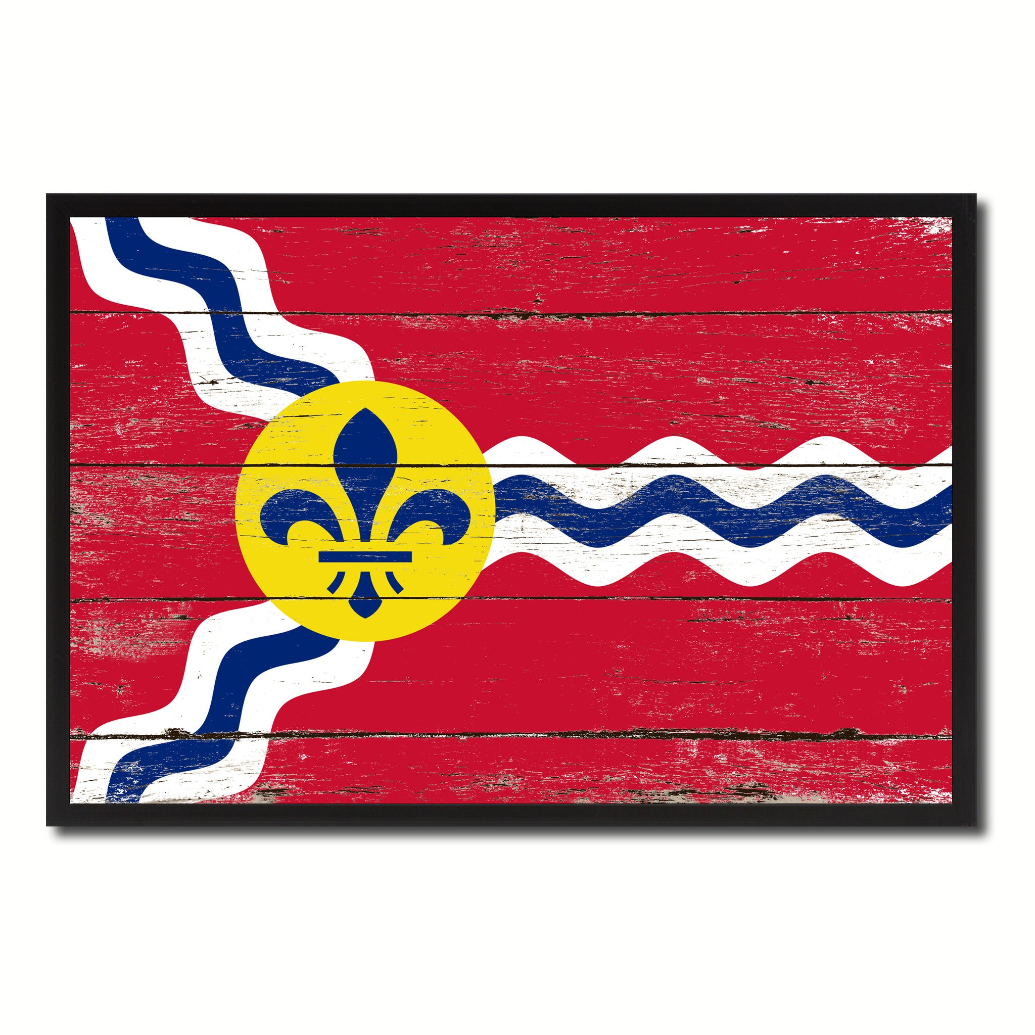 St Louis City Missouri State Flag Vintage Canvas Print With Black Picture Frame Home Decor Wall Art Collectible Decoration Artwork Gifts