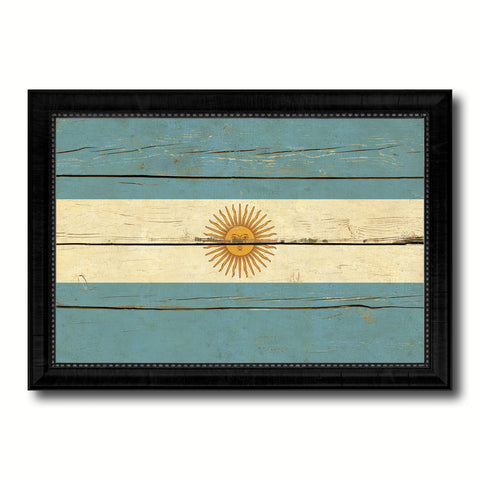 Argentina Country Flag Vintage Canvas Print with Black Picture Frame Home Decor Gifts Wall Art Decoration Artwork