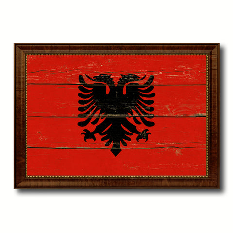 Albania Country Flag Vintage Canvas Print with Brown Picture Frame Home Decor Gifts Wall Art Decoration Artwork