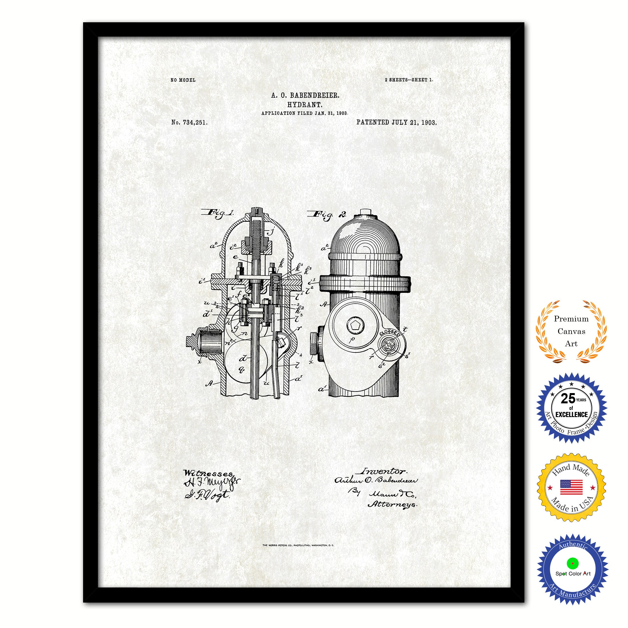 1903 Firefighter Hydrant Vintage Patent Artwork Black Framed Canvas Print Home Office Decor Great for Firefighter Fireman Firewoman