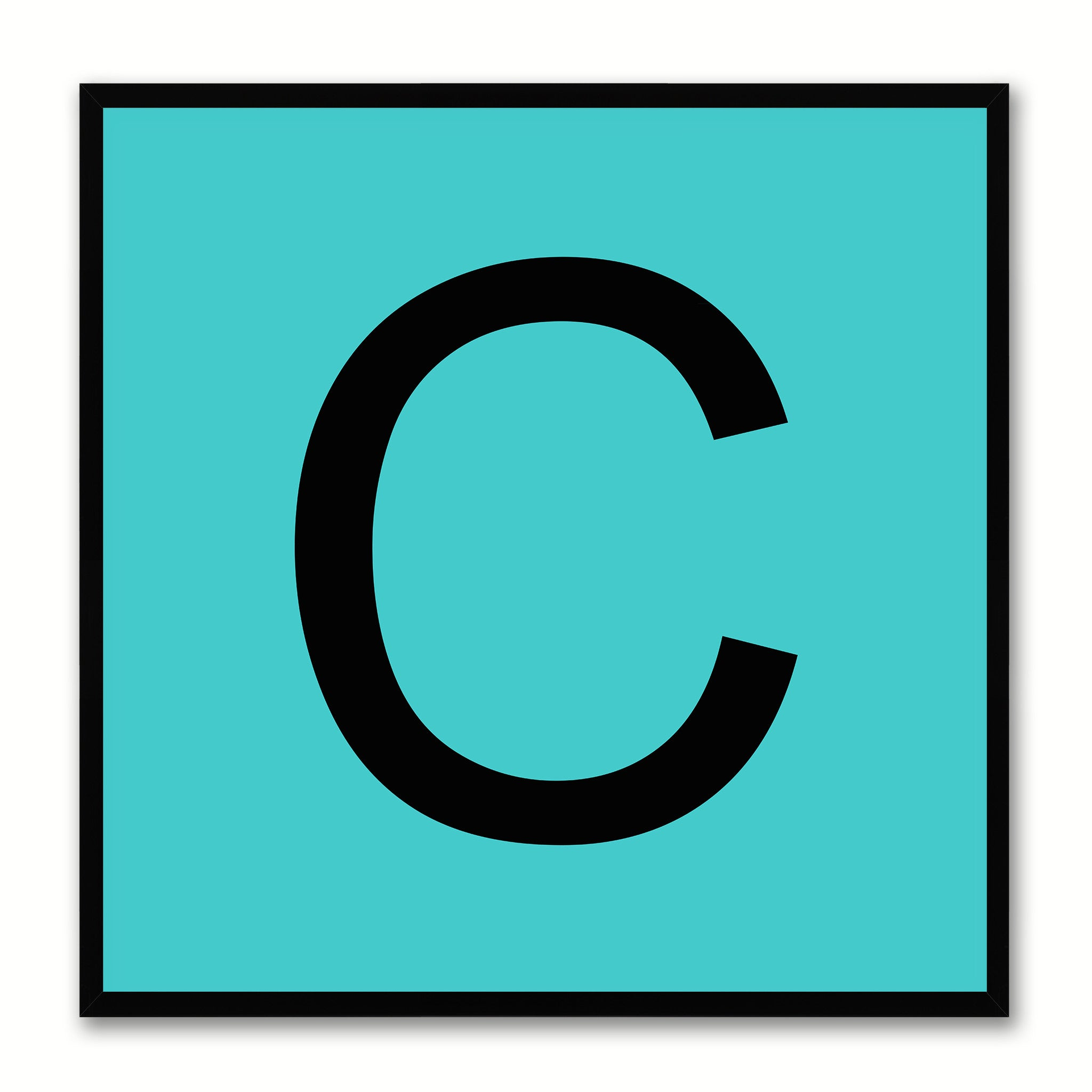 Alphabet C Aqua Canvas Print Black Frame Kids Bedroom Wall Décor Home Art