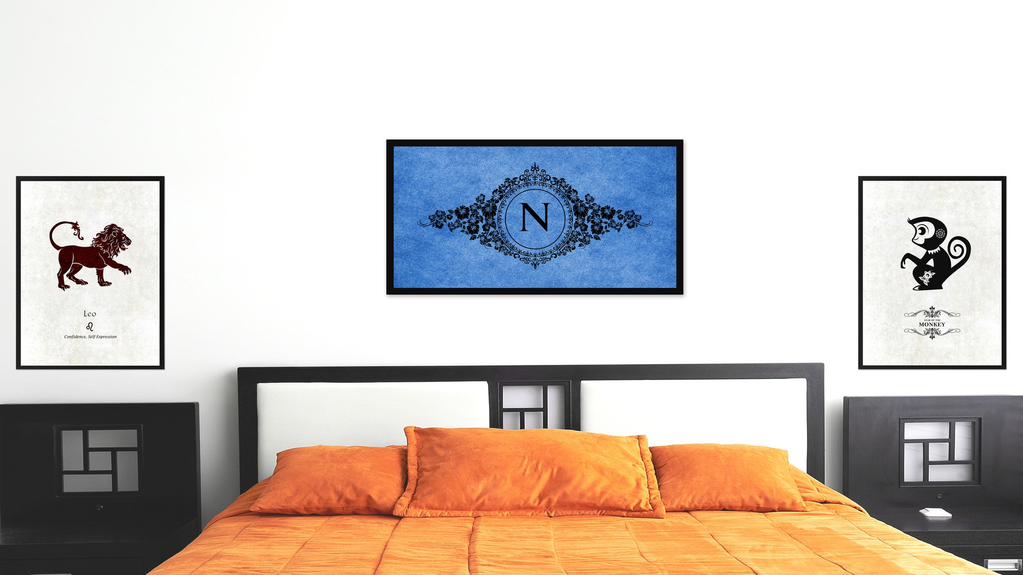 Alphabet Letter N Blue Canvas Print, Black Custom Frame