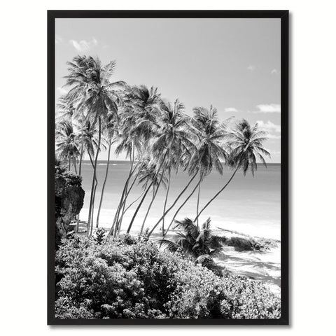 Palm Tree BW Landscape Photo Canvas Print Pictures Frames Home Décor Wall Art Gifts