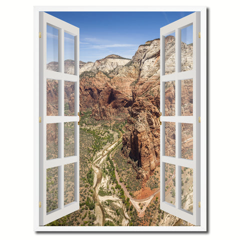 Aerial View Zion National Park Picture French Window Canvas Print with Frame Gifts Home Decor Wall Art Collection