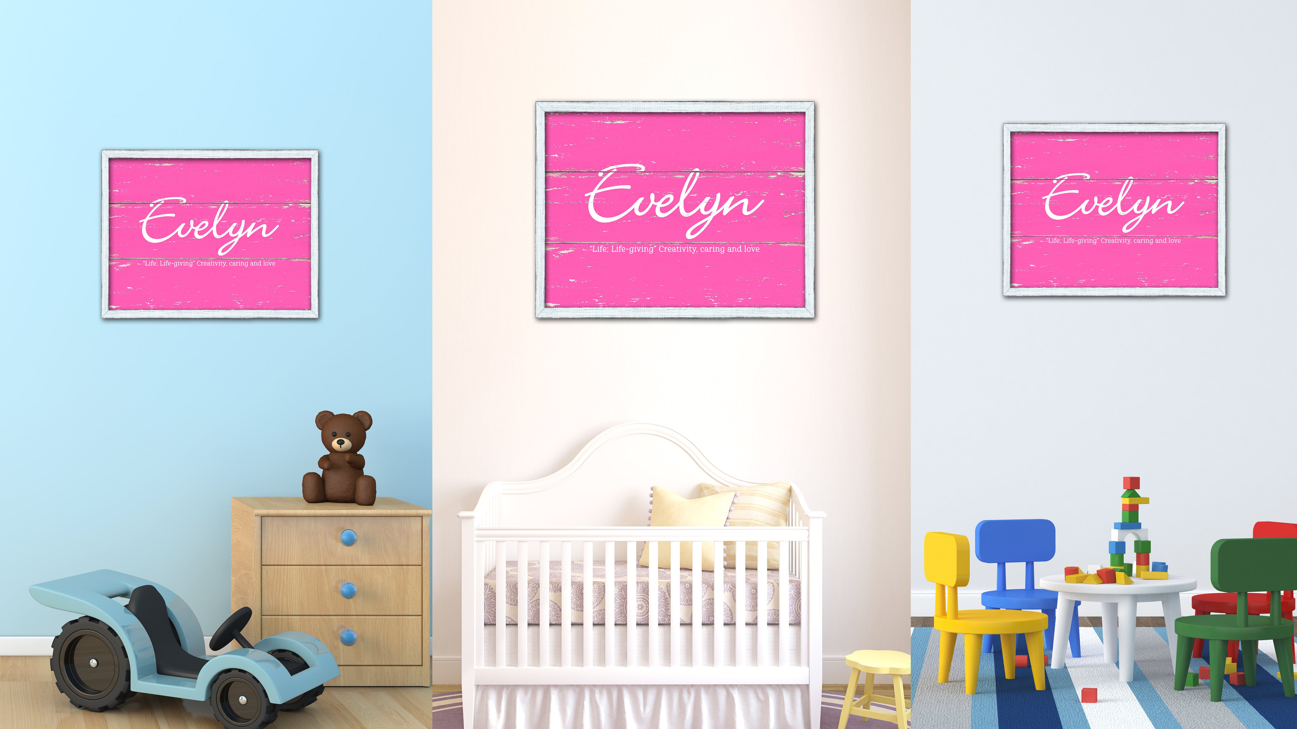 Evelyn Name Plate White Wash Wood Frame Canvas Print Boutique Cottage Decor Shabby Chic
