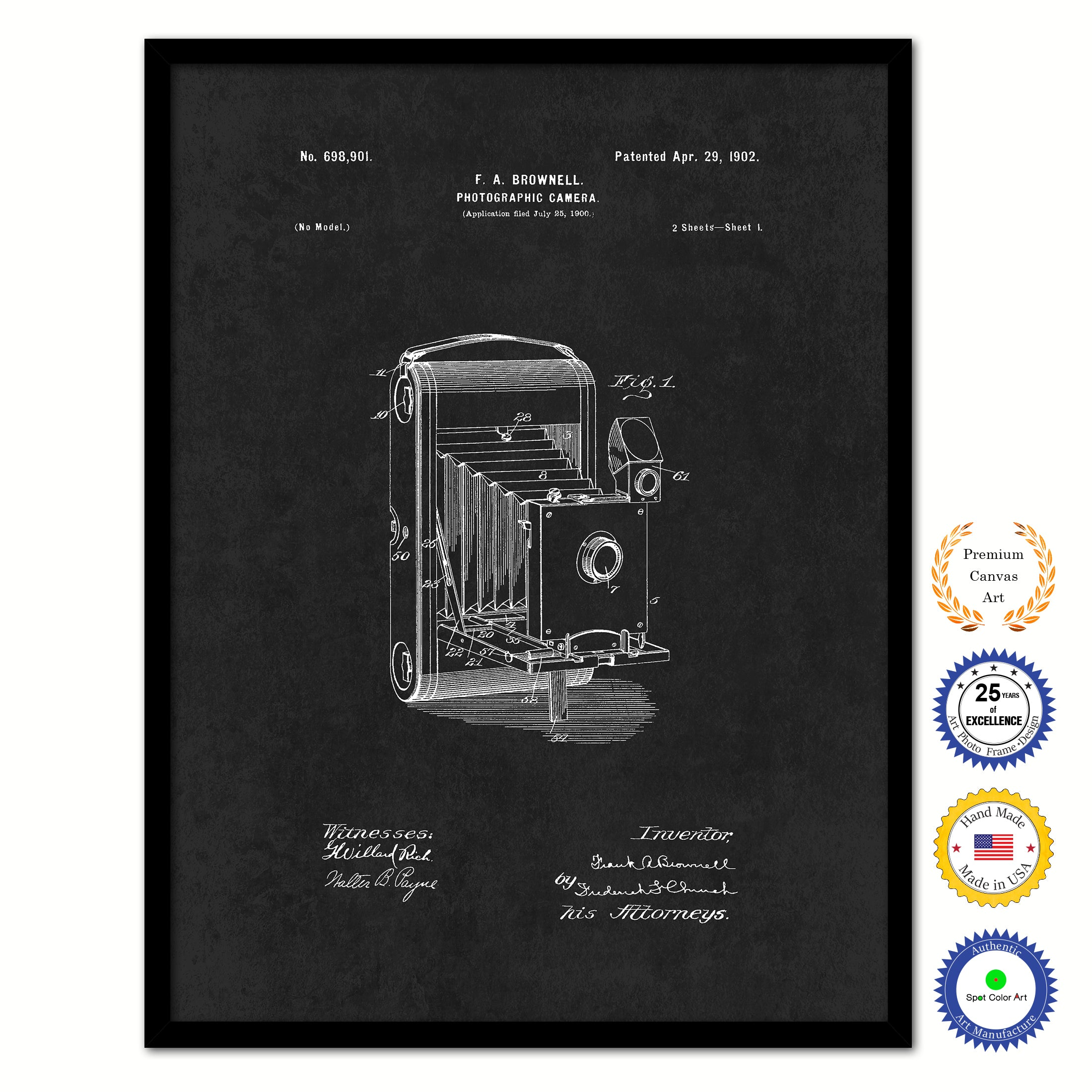 1902 Photographic Brownie Camera Vintage Patent Artwork Black Framed Canvas Home Office Decor Great Gift for Photographer
