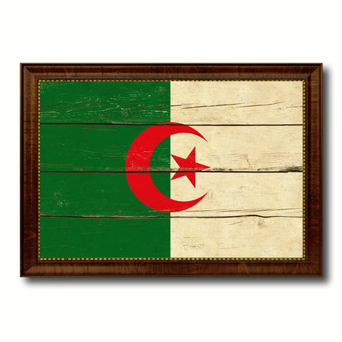 Algeria Country Flag Vintage Canvas Print with Brown Picture Frame Home Decor Gifts Wall Art Decoration Artwork