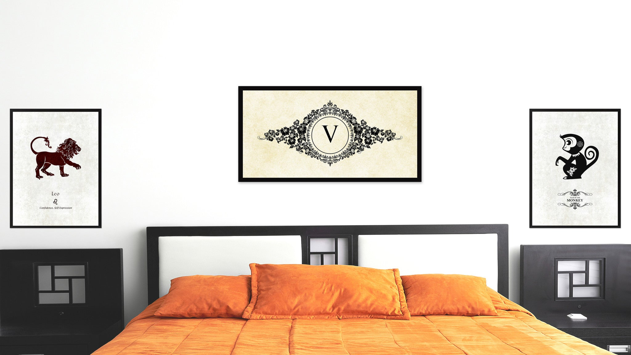 Alphabet Letter V White Canvas Print, Black Custom Frame