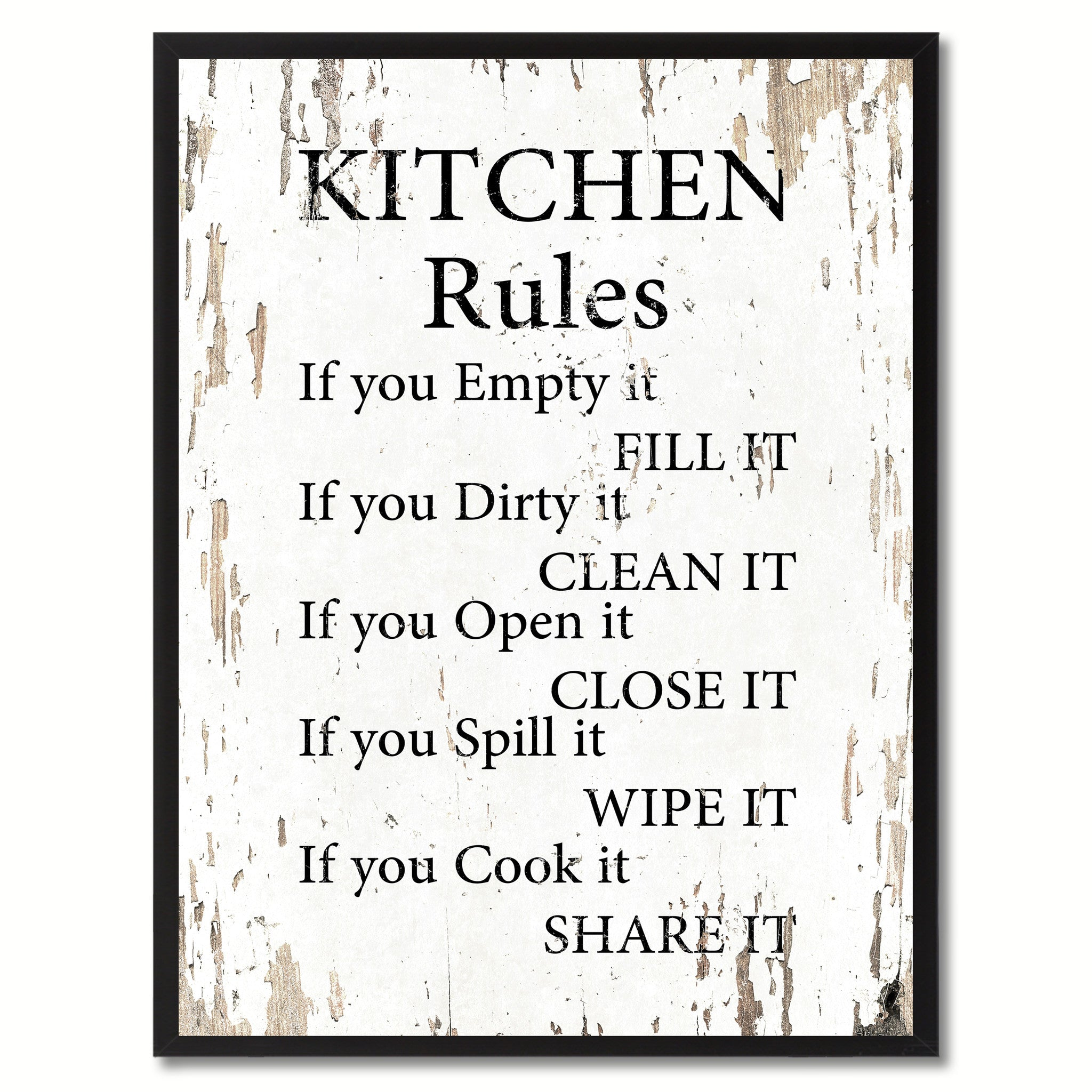 Kitchen Rules Inspirational Saying Motivation Quote Home Decor Wall ...