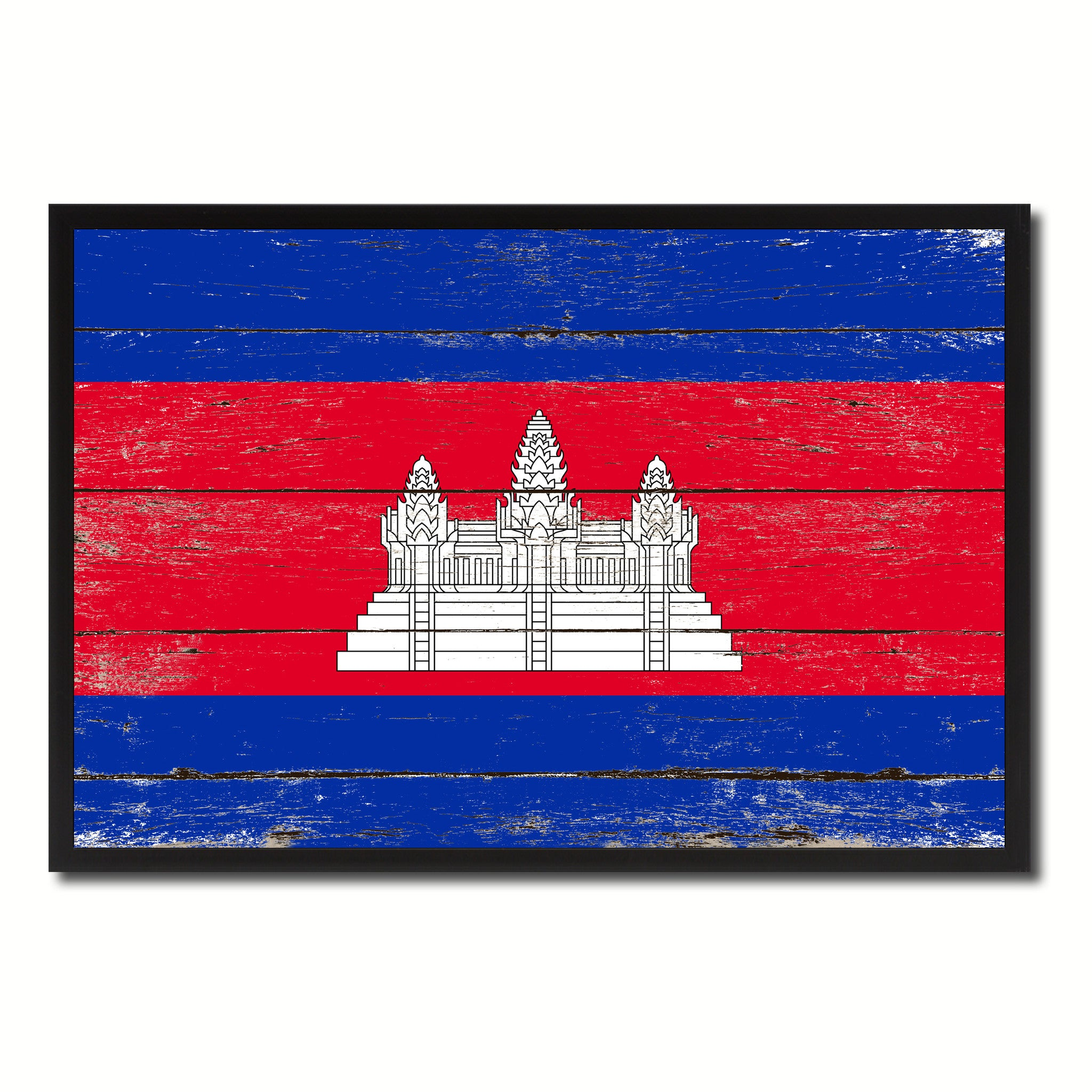 Cambodia Country National Flag Vintage Canvas Print with Picture Frame Home Decor Wall Art Collection Gift Ideas
