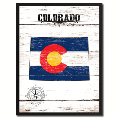 Colorado State Vintage Flag Canvas Print with Brown Picture Frame Home Decor Man Cave Wall Art Collectible Decoration Artwork Gifts