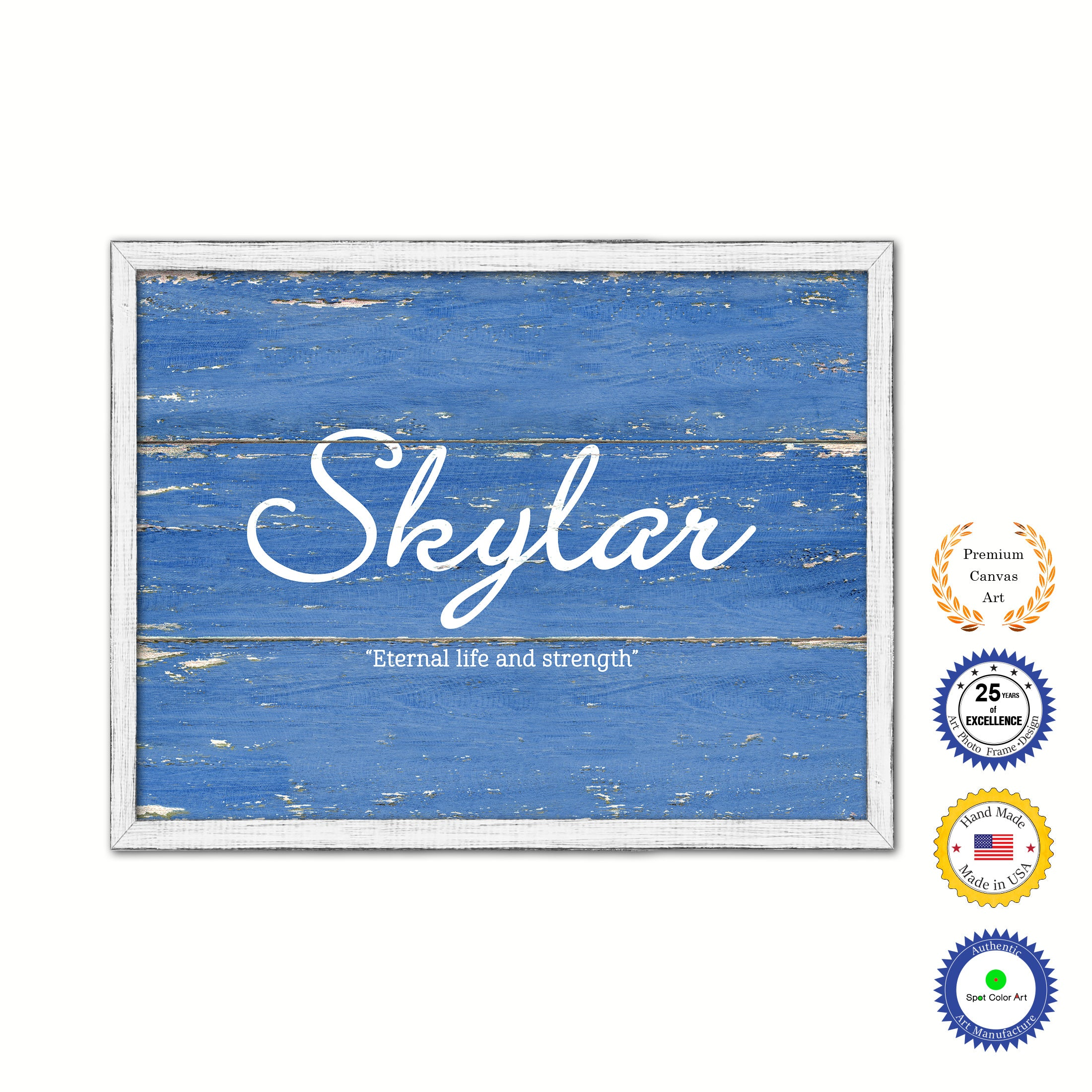Skylar Name Plate White Wash Wood Frame Canvas Print Boutique Cottage Decor Shabby Chic