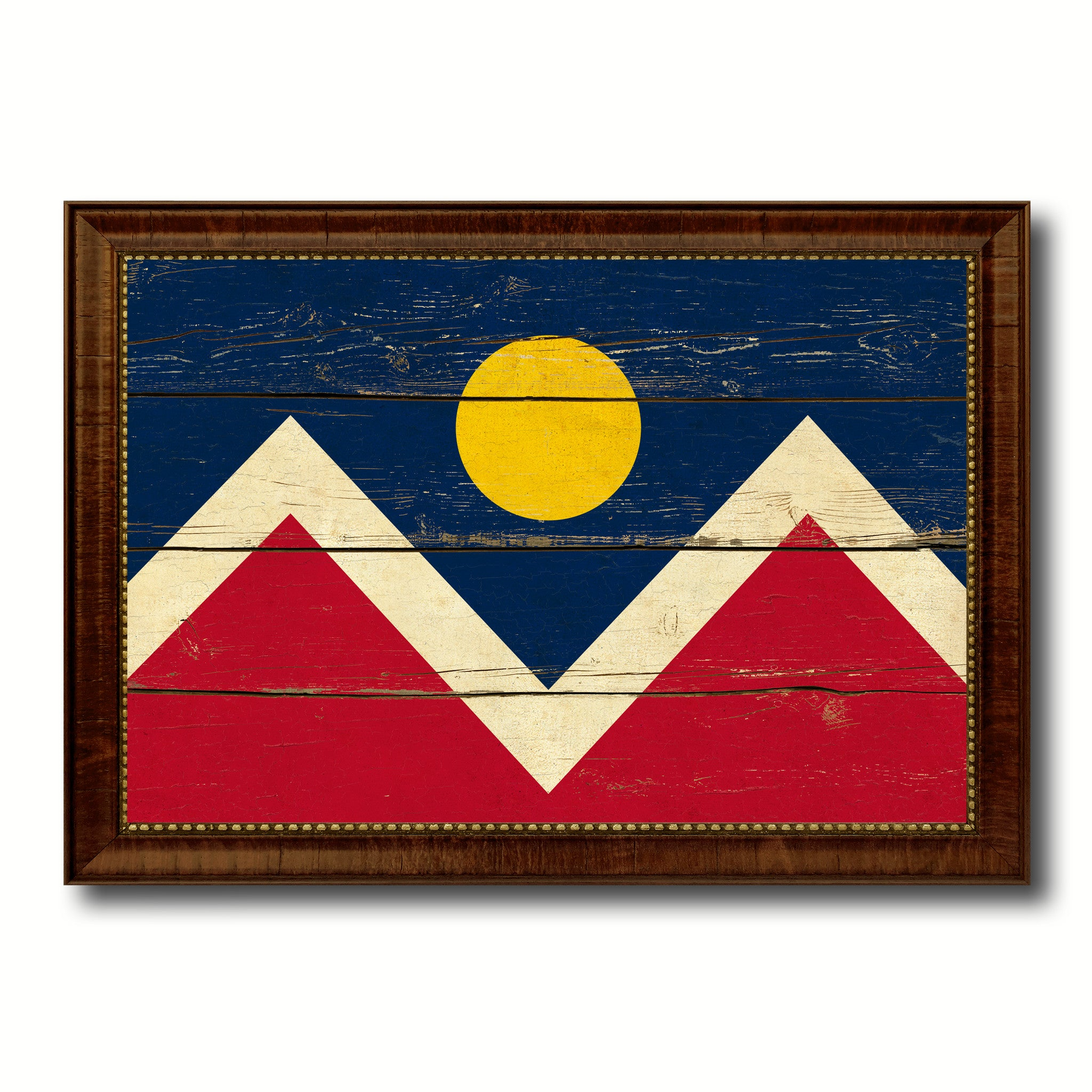 Denver City Colorado State Vintage Flag Canvas Print Brown Picture Frame