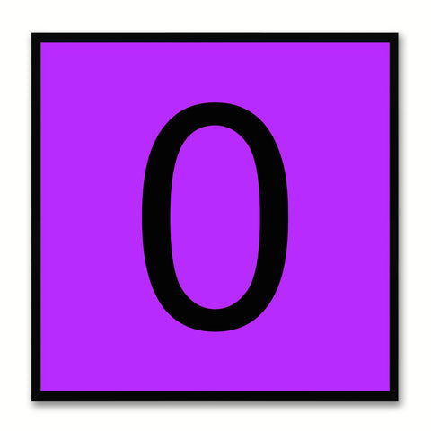 Number 0 Purple Canvas Print Black Frame Kids Bedroom Wall Décor Home Art