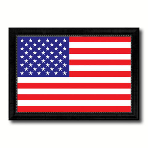 American Flag United States of America Canvas Print with Black Picture Frame Home Decor Gifts Wall Art Decoration Gift Ideas