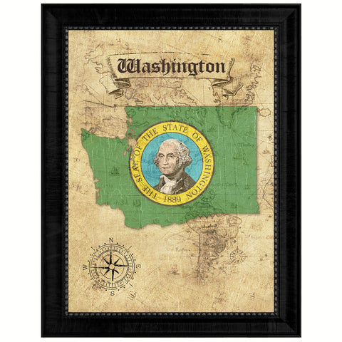 Washington State Vintage Map Gifts Home Decor Wall Art Office Decoration