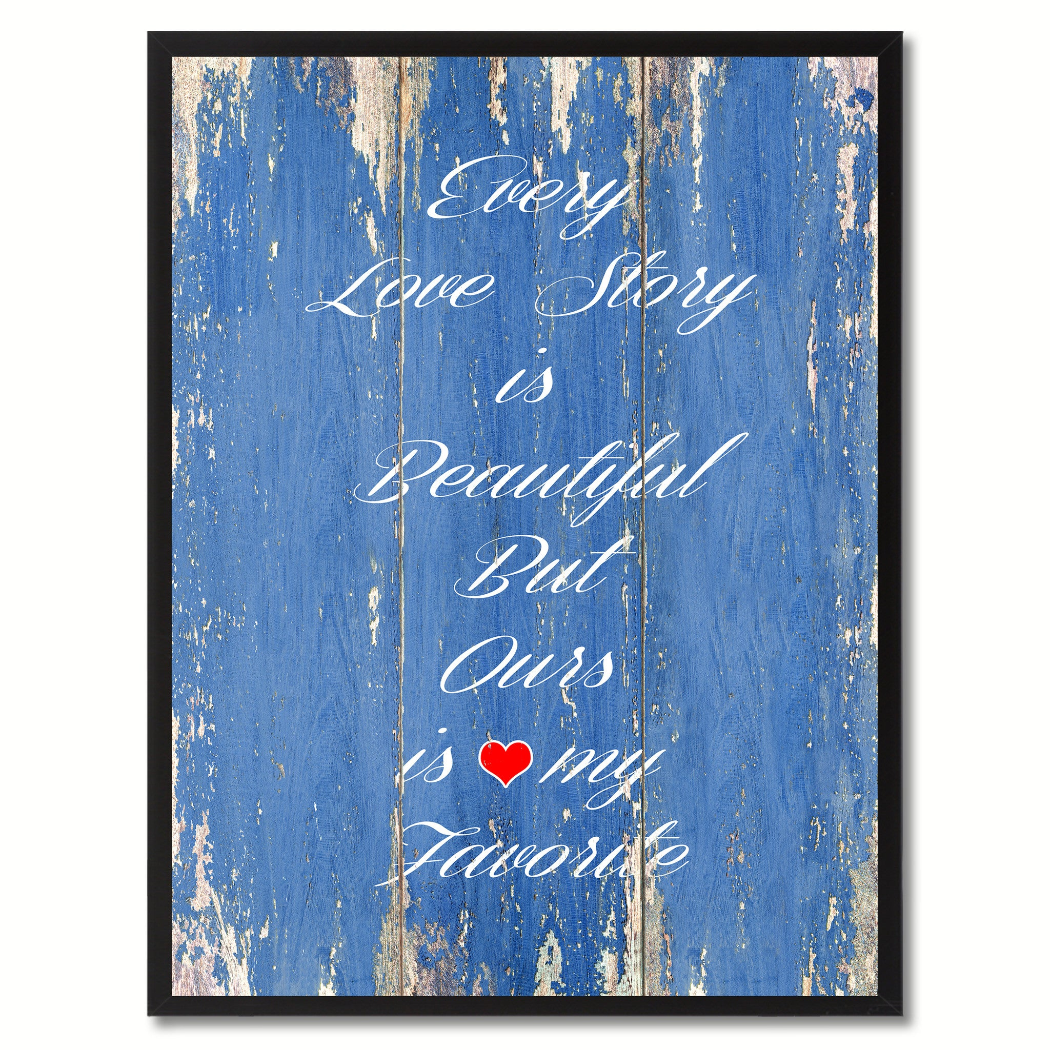Every Love Story Is Beautiful Saying Canvas Print, Black Picture Frame Home Decor Wall Art Gifts